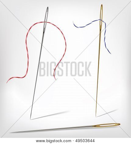 Needle With Thread Hand Made Isolated On White. Vector Illustration