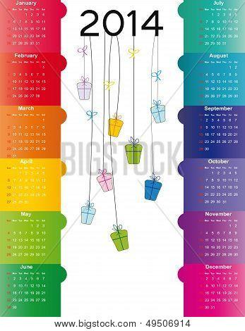 Cute Calendar On 2014 Year