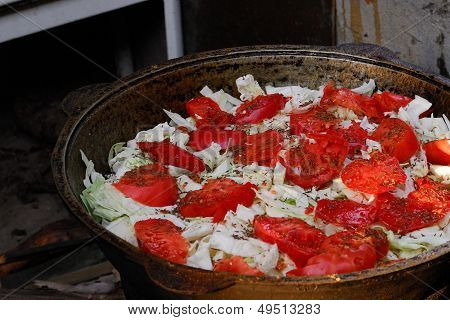 Cauldron With Cabbage Ond Tomatoes