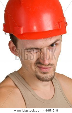 Young Worker In A Red Helmet