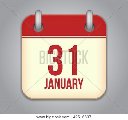 Vector calendar app icon. 31 January