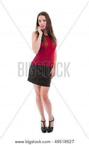 Pretty Brunette In Short Skirt And Heels