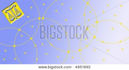 Card In Landscape Format With Sign Of The Zodiac - Scale, Libra