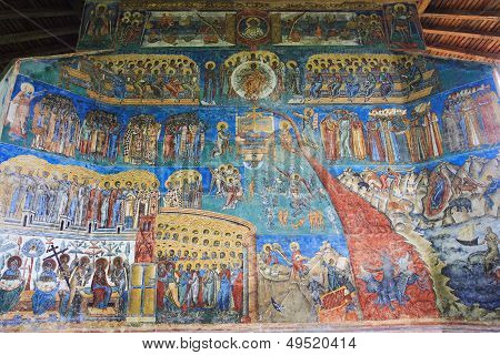 Representation of the Last Judgment on the west wall at Voronet Monastery