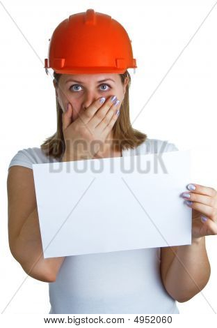 Women In A Red Helmet Shows On A Sheet Of Paper