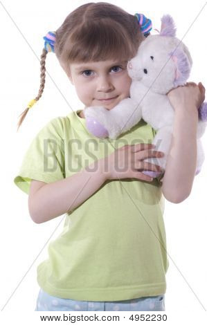 Little Girl With A Toy Cat