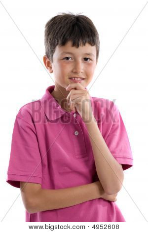 Thoughtful Boy With Pink Clothes