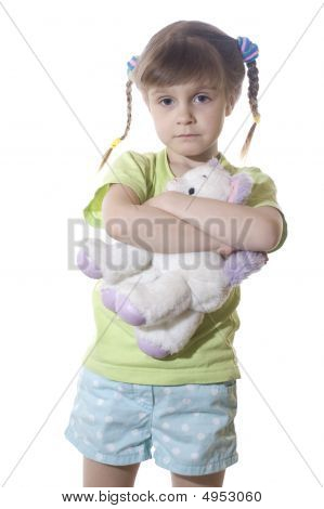 Sad Child With A Toy