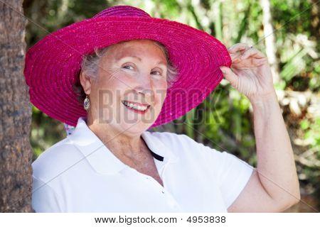 Beautiful Senior Lady Tips Hat