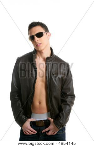 Young Sexy Boy Sunglasses And Leather Jacket