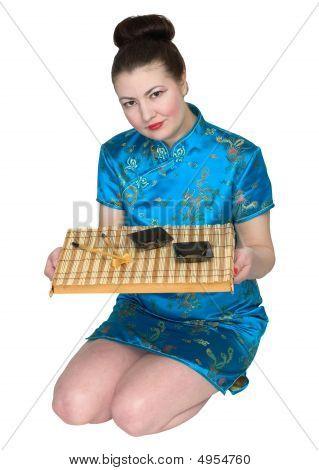 Japanese Girl With Ceremony Tea-tray