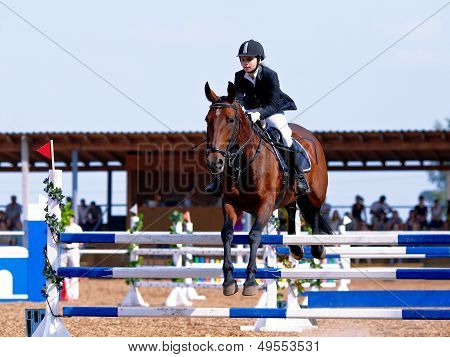 Competitions On A Show Jumping.