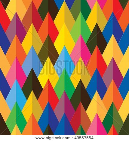 Seamless Abstract Colorful Background Of Cones Or Triangle Shapes- Vector Graphic