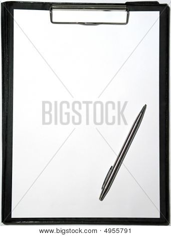 Clipboard On White With A Pencil