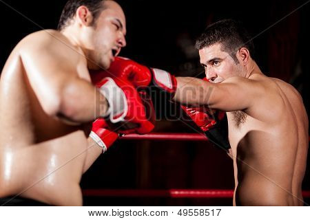Throwing a jab during a box fight