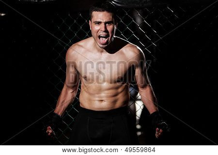 Angry MMA Fighter in a cage
