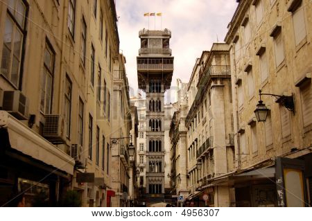 Santa Justa Elevator In Lisbon. Portugal
