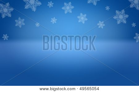 Winter Snowflake Blue Background Stage