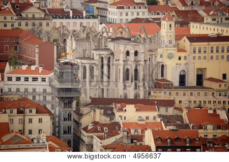 Santa Justa Elevator And Old Cathedral In Lisboa. Portugal