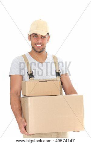 Handsome Man Delivering Packages