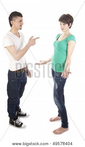 Man And Woman Having A Argue Isolated On White Background