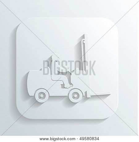 vector silhouett of fork lift truck and operator