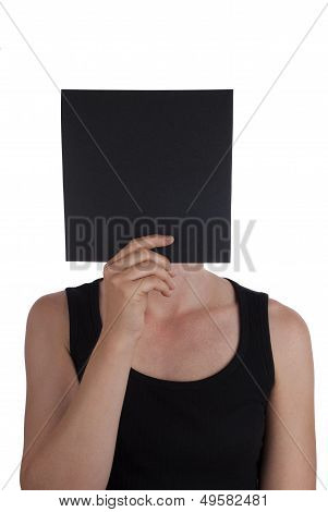 Person Hiding Behind Black Square