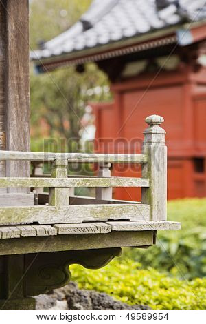 Wood Railing at Senso-ji Temple