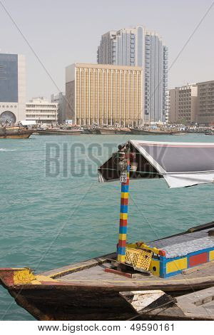 Dubai UAE An abra docked in Bur Dubai on Dubai Creek Deira.