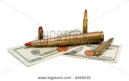 Money And Cartridges Isolated