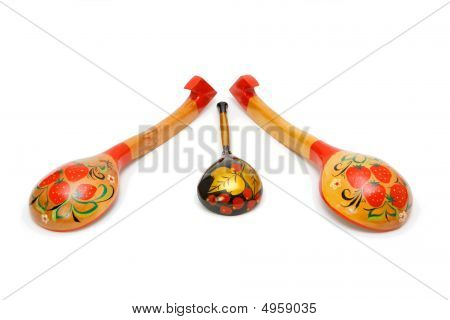 Russian Wooden Painted Spoons Isolated
