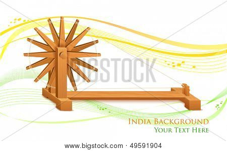 illustration of spinning wheel on India background