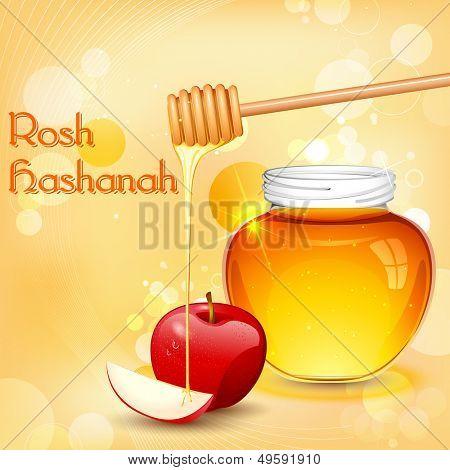 Ilustración de fondo de Rosh Hashaná con miel en apple
