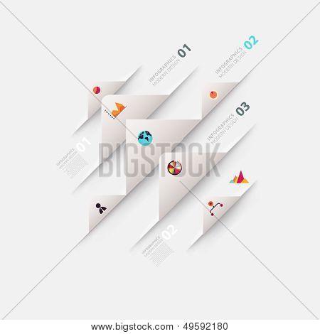 Plantilla de infografía moderna para el diseño de negocios con cintas. Puede ser utilizado para banners, tarjetas, papel