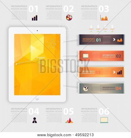Business-Infographik-Template. Handys-Technologie. Diagramme und Symbole festgelegt. Nummerierte Banner. M