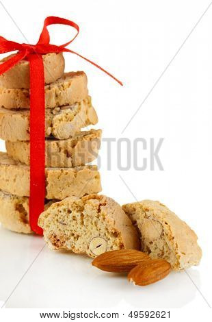 Aromatic cookies cantuccini isolated on white