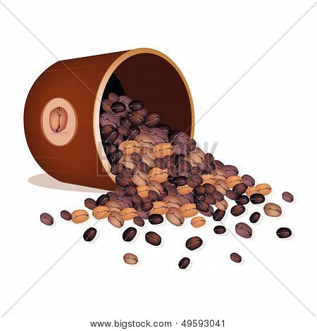 Various Kind Of Coffee Beans Dropped From A Pail
