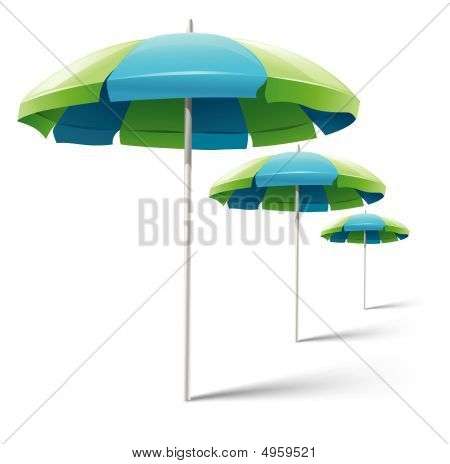 Beach Umbrellas Isolated On White