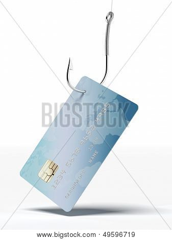 credit card on fishing hook