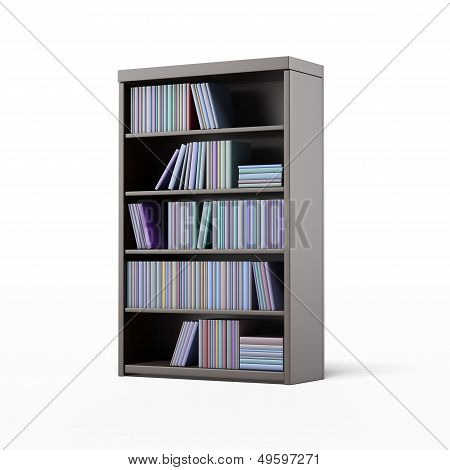 dark bookcase with books