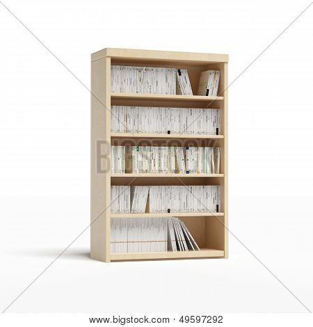 white bookcase with books