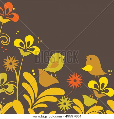 Two cute birds sitting on the flowers. Vector illustration for your design.
