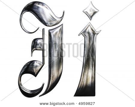 Metallic Patterned Letter Of German Gothic Alphabet Font. Letter J