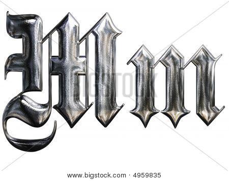 Metallic Patterned Letter Of German Gothic Alphabet Font. Letter M