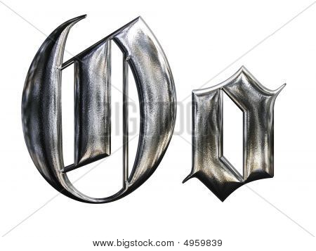 Metallic Patterned Letter Of German Gothic Alphabet Font. Letter O