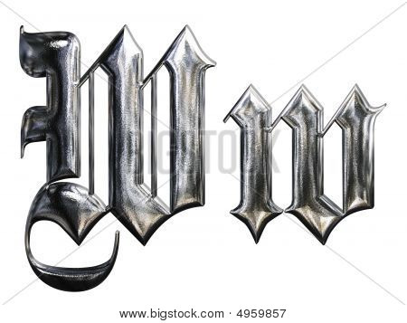 Metallic Patterned Letter Of German Gothic Alphabet Font. Letter W