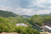 image of hydro-electric  - Large hydro electric dam in Thailand taken on a cloudy day - JPG