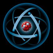 picture of nucleus  - Illustration of an atom with blue electron shell - JPG
