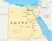 stock photo of sudan  - Map of Egypt with national borders - JPG