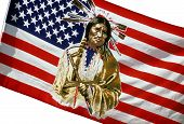 stock photo of indian flag  - American flag with an image of a Native American Indian holding a peace pipe - JPG